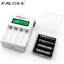 PALO C907W With 4 Slots Intelligent LCD Display Battery Charger For AA AAA NiCd NiMh with 4*3000mAh AA Rechargeable Batteries
