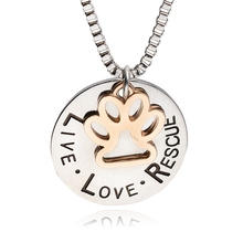 "2016 New ""Live&Love&Rescue""Letter Engraved Round Pendant Necklace Gold Dog Cat Paw Necklace Pet Lover Necklace Wholesale Jewelry"