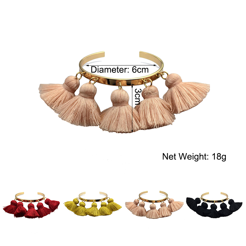 4 Colors Bohemia Tassel Charm Bangle Bracelets*