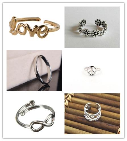 6 Style Women Fashion Toe Ring Delicate Celebrity Simple Love Letters Open Adjustable Foot Beach Jewelry