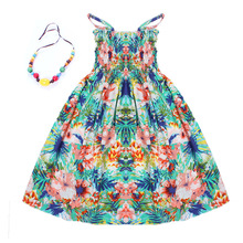 2016 Summer kids clothing girls New 2-11Y children beach dresses for girls fashion bohemian style girls dresses free necklace