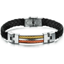 fashion titanium steel man bracelets for men high quality pu leather bracelet for Valentine's Day gift accesories jewelry PH821(China)
