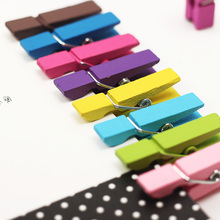 20PCS/lot Spring Clips Random Mini Colored Wood Photo Paper Peg Pin Clothespin Craft Clips Material Wood(China)