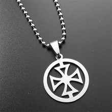 ER Mens Stainless Steel Silver Tone Round Maltese Cross Necklace Male Chain Crucifix Pendant Necklace Collier Punk PN003