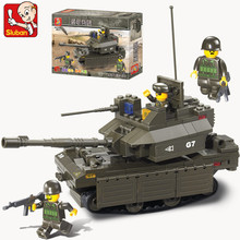 Sluban 215pcs world of tanks M1  Abrams Building Blocks DIY scale models  Army Educational toys for children