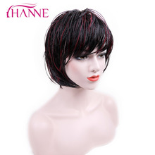 HANNE Short Haircut Mix 1B Red Half Hand Tied Afro American Wig With Bangs Heat Resistant Synthetic Hair Bob Micro Braided Wigs(China)