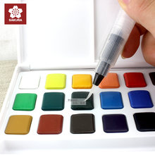 Sakura 18 colours watercolour paint box, with brush,solid watercolor painting outdoor, lightweight , perfect gift,free shipping(China)
