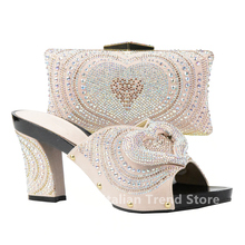 Shoe and Bag Set for Party In Women Peach Color Italian Shoes and Bag Set Decorated with Rhinestone Nigerian Shoes and Bag Sets