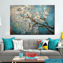 Hand Painted Abstract cherry flower Oil Painting abstract blue canvas Picture For Living Room Wall Art Canvas house decoration