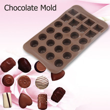 Mini 24 Holes Chocolate Molds Handmade Solid Grids Chocolate Baking Mold Ice Cake Decor Mould Candy Tools 3 Patterns DIY(China)