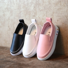 Children Shoes Boys Girls Sneakers Soft PU Leather Slip-on Loafer Casual Shoes Flat Kids Fashion Sneakers Moccasins White Black