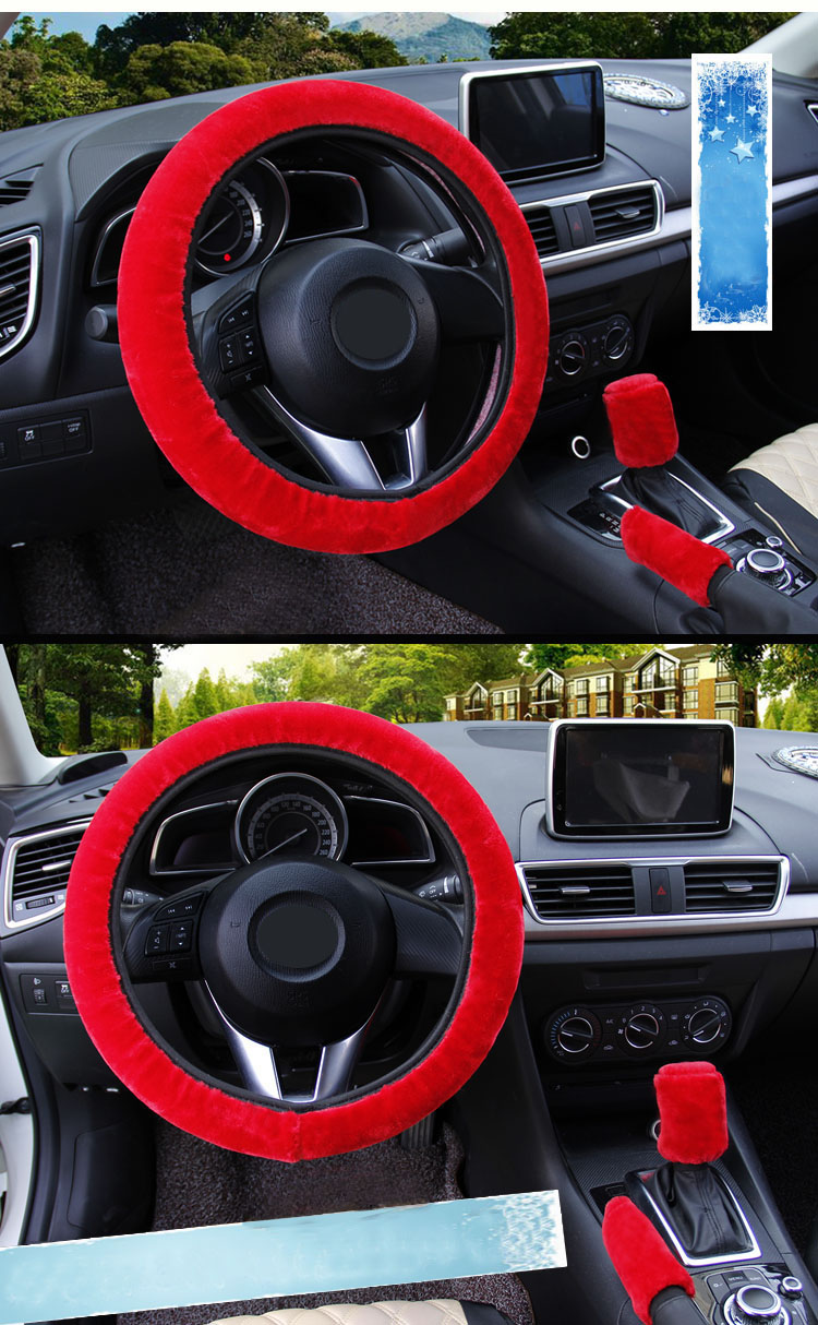 winter Steering Wheel Cover+Handbrake cover + car Automatic Covers / Warm Super thick Plush Gear Shift Collar 13