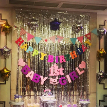 Hot Metallic Foil Fringe Door Rain Curtains Party Wedding Photo Booth Props Marriage Gathering Backdrop Streamers Decorations(China)