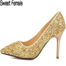 Sweet Female 6031 Glittering princess Dance shoes women pumps gold wedding party shoes 8 cm Thin high heel Bride shoes lady(China)