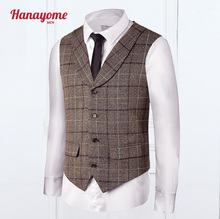 Mens Vest Breasted Tuxedos Vintage Suits Men Groomsmen Suit Cashmere Pleated Dress Men's Suit Formal VS30(China)