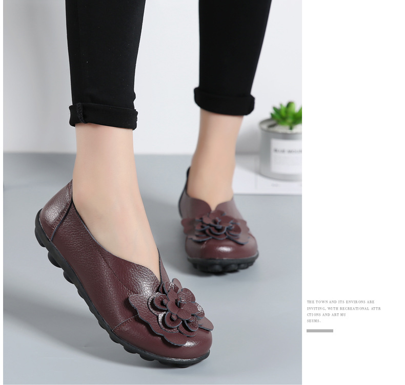 Women Real Leather Shoes Flower Moccasins Mother Loafers Soft Leisure Flats Casual Female Driving Ballet Footwear Women Shoes 24