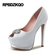 White Platform Women Big Size Extreme Bridal Peep Toe Satin Thin Wedding  Shoes Fish Mouth Fetish Pumps High Heels Spring Autumn 64abfdf25a83