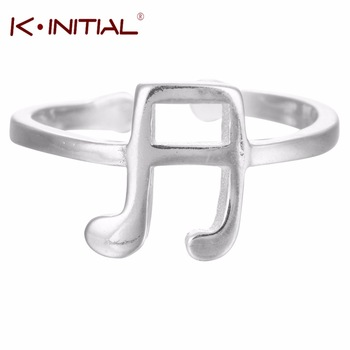 Kinitial 1Pcs Cute 925 Silver Musical Note Openings Adjustable Midi Rings for Women Geometric Cuff Rings Jewelry Drop Shipping