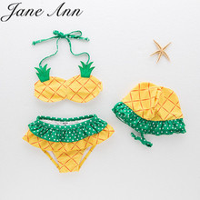 2017 summer baby girls swimsuit infant toddler kids childrens fashion pineapple fruit swimwear hat+bra+brief