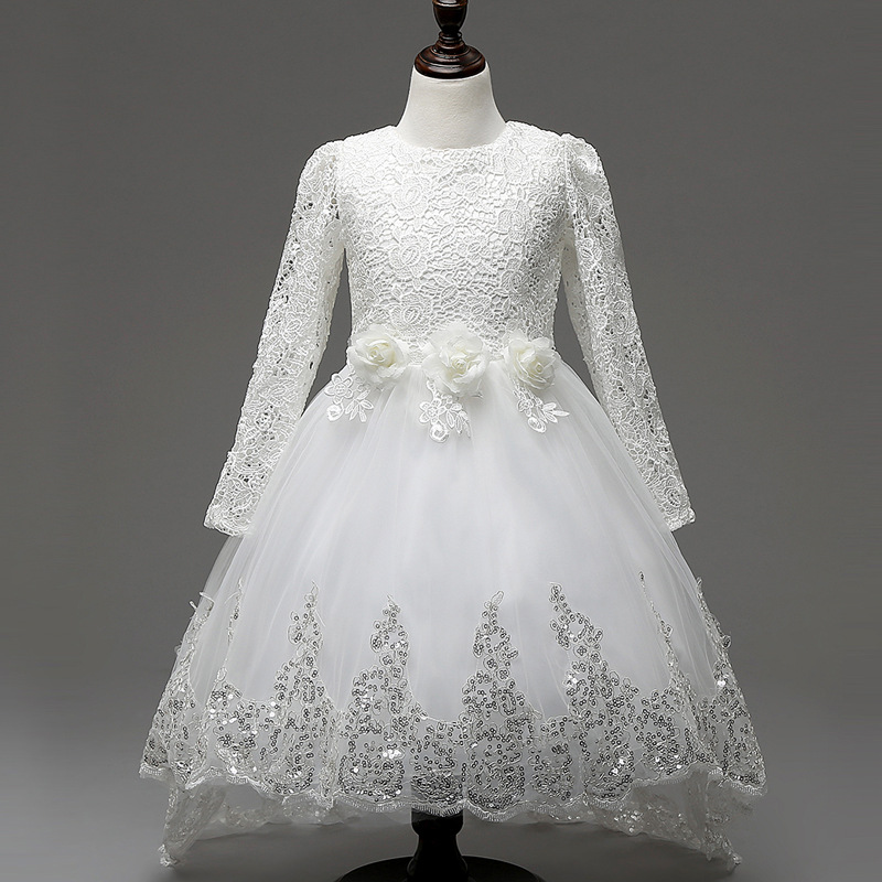 2017 Christmas White Lace Flower Girl Dresses Long Sleeve Hollow Trailng Bow Sash Princess Ball Gown Pageant Kids Dress 140<br><br>Aliexpress