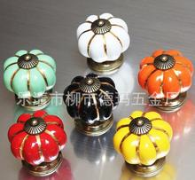 Storage Doorknobs     New  Furniture For Kitchen Ceramic Door Knobs Vintage Pumpkin Cabinet Drawer Cupboard Kitchen Pull Handles
