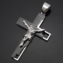 ATGO Jesus Classic Vintage Gift Mens Stainless Steel 316L Cross Pendant Necklace Chain Jewellery Wholesale(China)