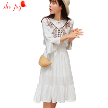 Long White Dress Vintage Women's Dresses Clothings Women Vestido De Festa Flare Sleeve Ethnic Embroidery Gowns Clothes Female(China)