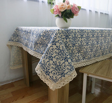 tc002 customized many sizes available cotton and linen Retro Blue and white porcelain Chinese Classic  Style table Cloth
