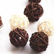 3cm Mix White And Coffee 50pcs/Lot Home/Wedding/Hotel/Decorative Rattan Ball Home Decoration Accessories