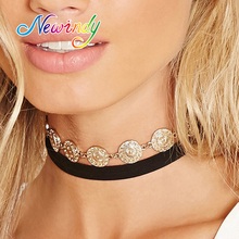 Newindy Gothic Jewelry Punk Rock Grunge Style Choker Long Black Skin Chain Round Gold-Color Carving Coin Choker Necklace Women