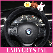 Ladycrystal Velvet Car Steering Wheel Cover Cute Doll Steering Wheel Covers Auto Car Styling Interior Decoration Accessories