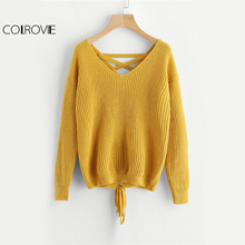COLROVIE Boho Lace Up Back Sweater Women Mustard Long Sleeve Casual Jumper Fall 2017 Fashion Vintage Cut V Neck Loose Sweater(China)