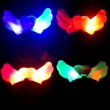 2017 Girls Women Light Up Blinking Angel Headband FLASHING Head Band Wedding Children'Day Hair Rave Glow Party Supplies(China)