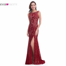 Mermaid Evening Dress Ever Pretty EP08859 2017 Long Sexy Sleeveless Split Formal Celebrity Lace Evening Gown Dresses(China)