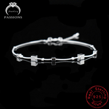 New Foot Anklet 925 Sterling Ladies Silver Anklets Bracelet Chain For Women Square Pendant Foot Pulseras Jewelry