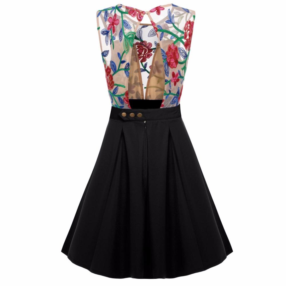 e84cbb73eeb ACEVOG Women Summer Lace Dress Sexy vestidos 2017 Lady Sleeveless Lace  Patchwork High Waist Pleated Casual Knee Length DressUSD 14.84 piece ...