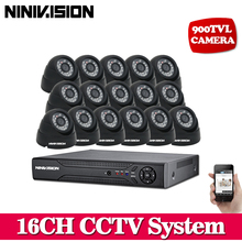 NINIVISION Video Surveillance System 16Ch 1080P AHD 960H HDMI CCTV DVR  Kit 900TVL IR Night Indoor Security Cameras System