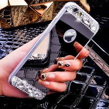TUMI.OvO Luxury Diamond Jewelry Bling Crystal Mirror Soft TPU Cover Case for iPhone 4 4S 5 5S 5SE 6 6S 7 Plus Mobile Phone Cases(China)