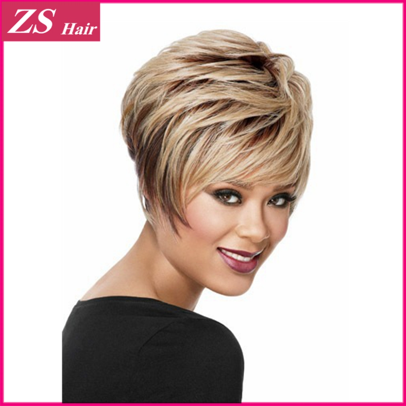 Black Highlight Color 1PC Short Natural As Real Hair Ombre Wigs For African American Black Women Heat Resistant Kanekalon Fiber<br><br>Aliexpress