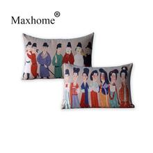 Chinese Classical Cotton Linen Pillowcase Tang Dynasty Maid And Officials Cushion Decorative Pillow Home Sofa Decor Throw 50*30