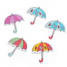 30PCs Multicolor Cartoon Umbrella Shaped 2 Holes Wooden Buttons Fit Sewing DIY Scrapbooking Children Crafts Decoration
