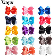 8'' Handmade Solid Grosgrain Ribbon Large Hair Bow for Girls Candy Color Bowknot Boutique Hairpins Hair Accessories(China)