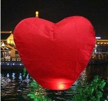 wholesale 3 pieces NEW RED HEART FIRE SKY CHINESE LANTERNS BIRTHDAY WEDDING PARTY(China)