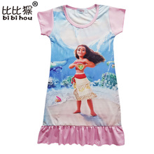 Bibihou Summer Children Clothing Baby Girls Christmas Dress Moana Cartoon Dresses Home Clothes Princess Costume Dresses pajamas