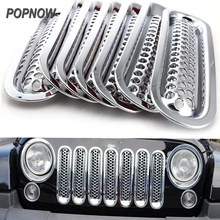 7pcs/set Chrome Car Decorative Styling Accessories Clip-in Front Mesh Grill Grille Insert For Jeep Wrangler JK 2007-2015 #7414