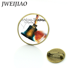 JWEIJIAO Notre Dame de Paris Window Monster Great Bell Brooches Art Picture Tourist Souvenir Glass Dome Brooch Pins E699(China)