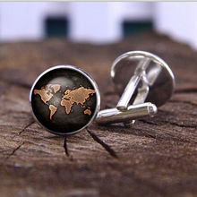 Black globe World Map Cufflinks plated vintage World Map Cuff men and women Accessories Antique Vintage brown(China)