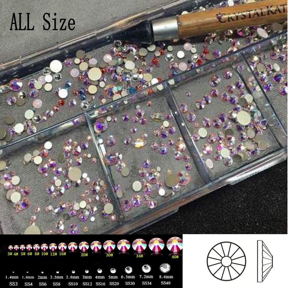2058 nohotfix SS3-SS50 все размеры Crystal AB Блеск Дизайн ногтей Аксессуары DIY Стекло Flatback Стразы для Гвозди одеть Декор(China)