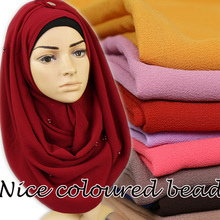 High quality Big size bubble chiffon floral color beads/pearl plain shawls hijab muslim nice 20 color scarves/scarf 180*85cm