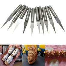 Hot Sale 10Pcs 3.175mm Tungsten Steel V Shape Carbide PCB Engraving Bits CNC Router Tool 10 Degree 0.2mm Machine Accessories